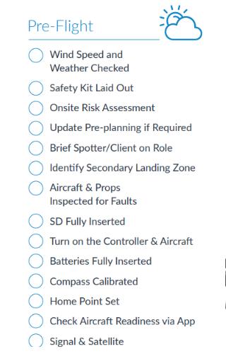 DJI Droni checklist pre volo
